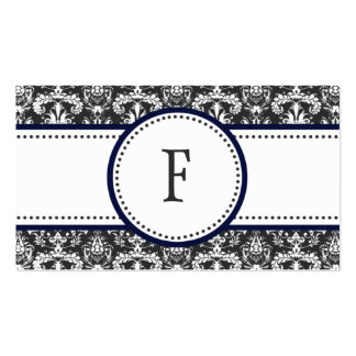 Navy Blue & White Classic Damask Mommy Calling / Business Cards