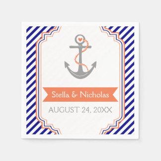 Navy blue, white coral anchor nautical wedding paper napkin