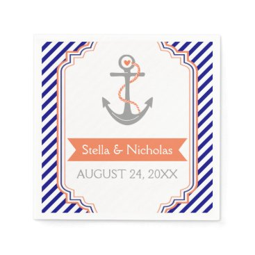 Beach Themed Navy blue, white coral anchor nautical wedding paper napkin