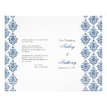 Navy Blue White Damask Foldable Wedding Program Full Color Flyer