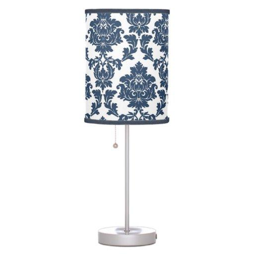 navy blue white damask lamp shade zazzle. Black Bedroom Furniture Sets. Home Design Ideas