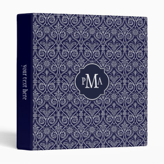 Navy Blue & White Damask Pattern Monogram Vinyl Binders