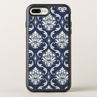 Navy Blue White Damask Pattern OtterBox Symmetry iPhone 8 Plus/7 Plus Case