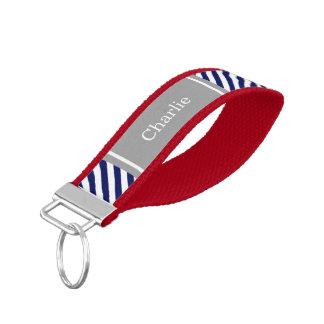 Navy Blue White Diag Stripe Dk Gray Name Monogram Wrist Keychain