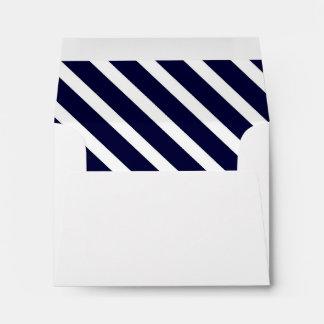 """Navy Blue White Diagonal Stripe #1 A2 5.6"""" x 4 1/8 Envelope"""