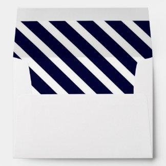 Navy Blue White Diagonal Stripe #1 A7 5x7 Envelope