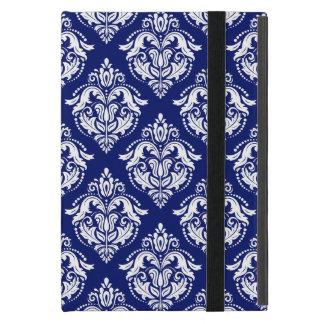 Navy-Blue & White Floral Damasks Geometric Pattern iPad Mini Case