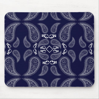 Navy blue white floral paisley design mouse pad