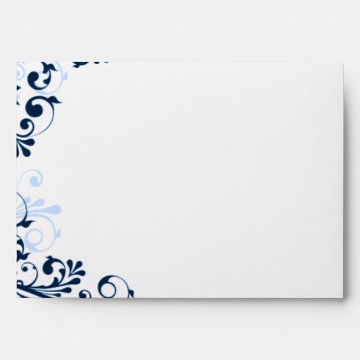 Navy, Blue, White Floral Wedding A7 Envelopes
