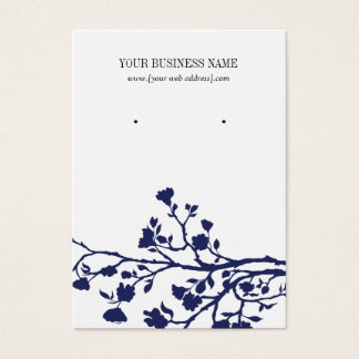 Navy Blue White Flowers Custom Earring Card