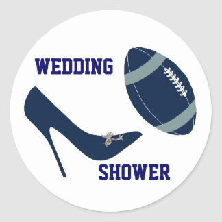 Navy Blue & White Football Themed Envelope Seal Round Stickers