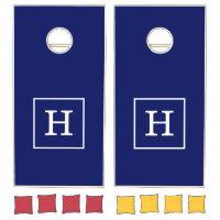 Navy Blue White Framed Initial Monogram Cornhole Set