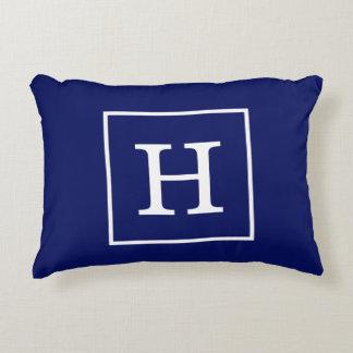 Navy Blue White Framed Initial Monogram Decorative Pillow
