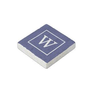 Navy Blue White Framed Initial Monogram Stone Magnet