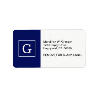 Navy Blue White Framed Initial Monogram Label