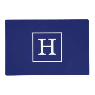 Navy Blue White Framed Initial Monogram Laminated Place Mat
