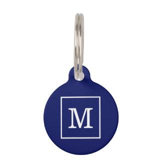 Navy Blue White Framed Initial Monogram Pet Tag