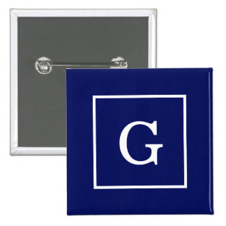 Navy Blue White Framed Initial Monogram Pinback Button