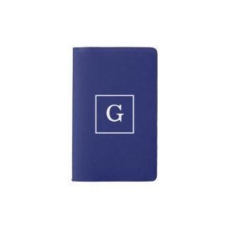 Navy Blue White Framed Initial Monogram Pocket Moleskine Notebook