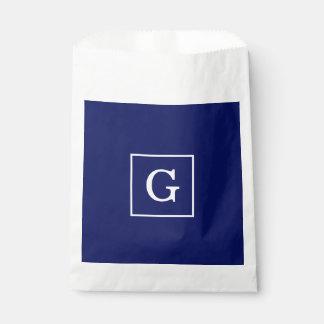 Navy Blue White Framed Initial Monogram Favor Bags