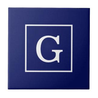 Navy Blue White Framed Initial Monogram Tiles
