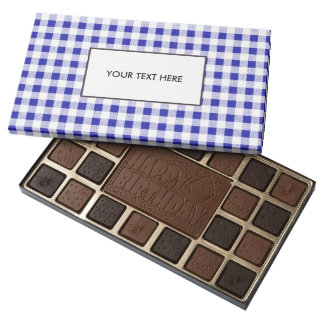 Navy Blue White Gingham Pattern Assorted Chocolates