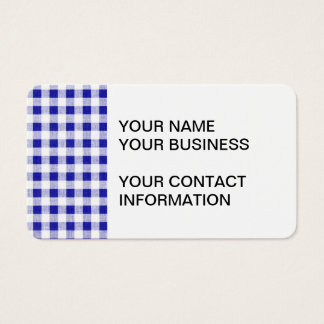 Navy Blue White Gingham Pattern Business Card
