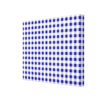 Navy Blue White Gingham Pattern Gallery Wrap Canvas
