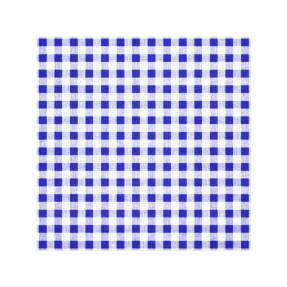 Navy Blue White Gingham Pattern Stretched Canvas Print
