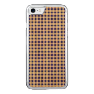 Navy Blue White Gingham Pattern Carved iPhone 7 Case