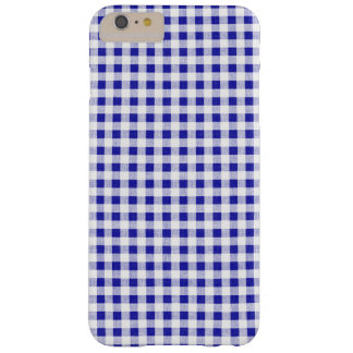 Navy Blue White Gingham Pattern Barely There iPhone 6 Plus Case