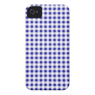 Navy Blue White Gingham Pattern iPhone 4 Case