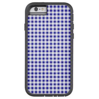 Navy Blue White Gingham Pattern Tough Xtreme iPhone 6 Case