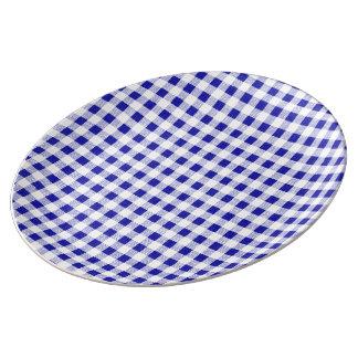 Navy Blue White Gingham Pattern Dinner Plate