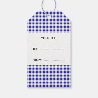 Navy Blue White Gingham Pattern Gift Tags