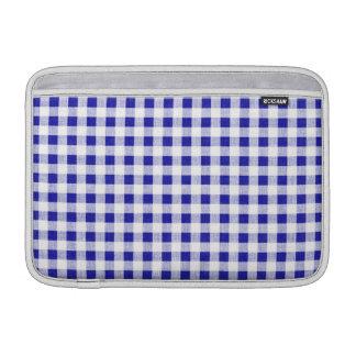 Navy Blue White Gingham Pattern MacBook Air Sleeves