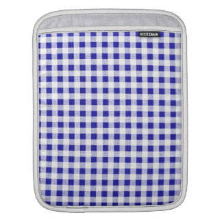 Navy Blue White Gingham Pattern Sleeve For iPads