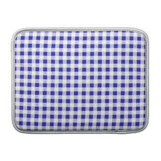Navy Blue White Gingham Pattern Sleeves For MacBook Air