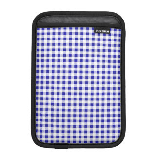 Navy Blue White Gingham Pattern iPad Mini Sleeves