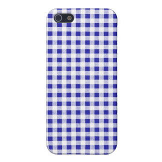 Navy Blue White Gingham Pattern iPhone 5 Cases