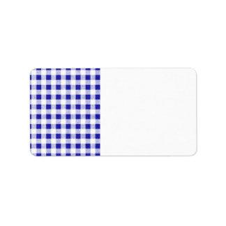 Navy Blue White Gingham Pattern Label