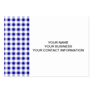 Navy Blue White Gingham Pattern Large Business Card