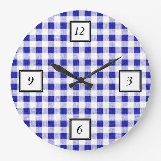 Navy Blue White Gingham Pattern Large Clock