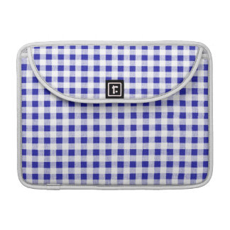 Navy Blue White Gingham Pattern Sleeves For MacBook Pro