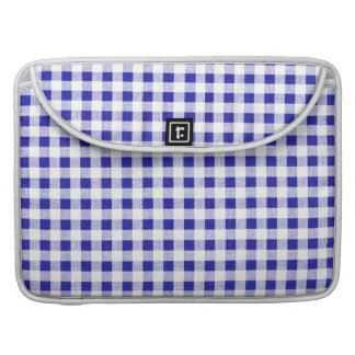 Navy Blue White Gingham Pattern MacBook Pro Sleeves