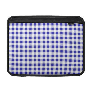 Navy Blue White Gingham Pattern MacBook Sleeve
