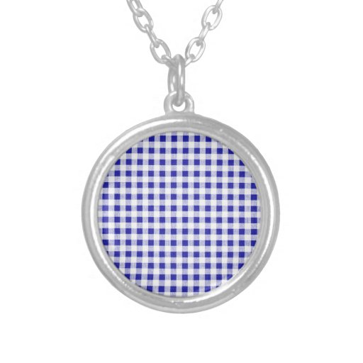 Navy Blue White Gingham Pattern Personalized Necklace