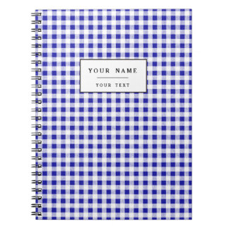 Navy Blue White Gingham Pattern Spiral Notebooks