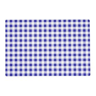Navy Blue White Gingham Pattern Laminated Place Mat