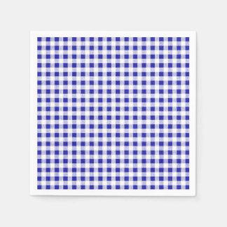 Navy Blue White Gingham Pattern Paper Napkin